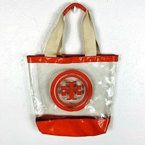 Tory Burch Large Orange Clear Vinyl Tote Bag